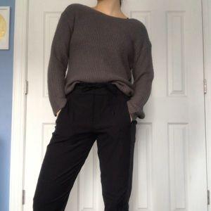 Grey Open-Back Sweater